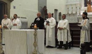 (Da esq. para dir.) Pe. Luiz, Pe. David, Pastor Anildo, Dom Wilson, Pe. ortodoxo Celso Alves e Frei André