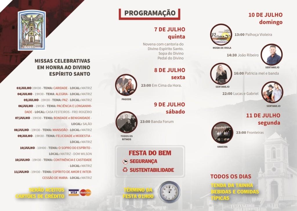 Festa do Divino 2016 - programação