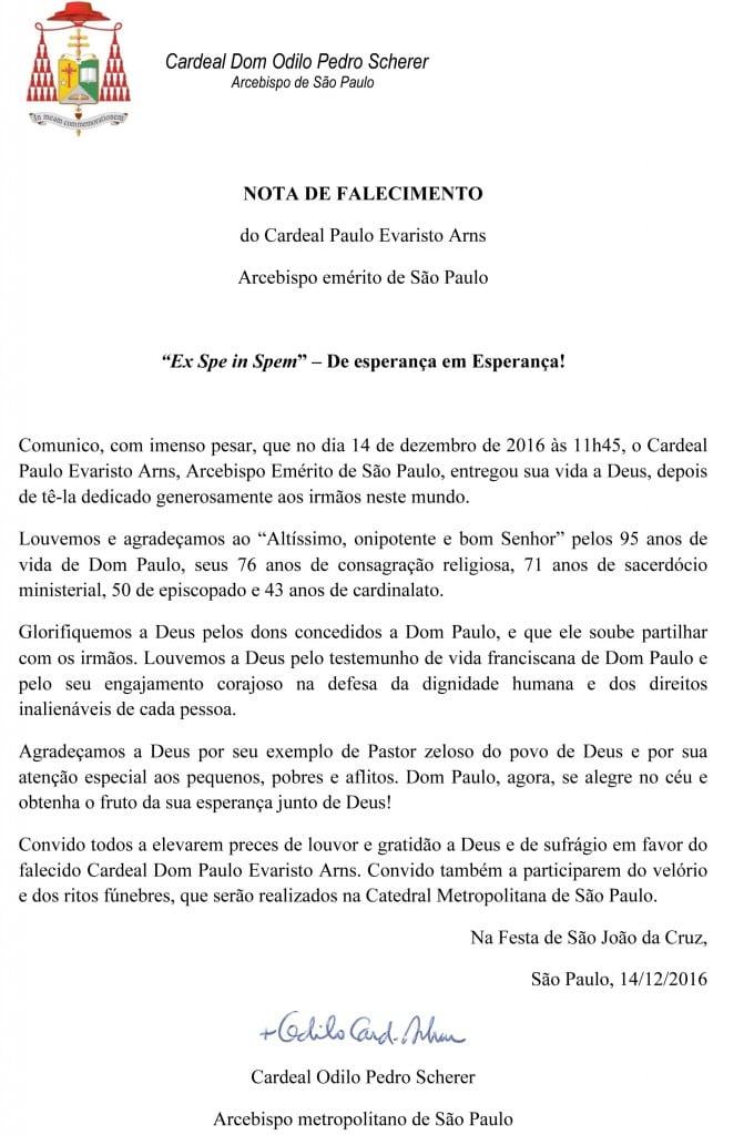 Microsoft Word - Nota de Dom Odilo sobre o falecimento (1).doc